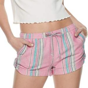 SO Linen Soft Shorts Pink Striped NWT Shortie